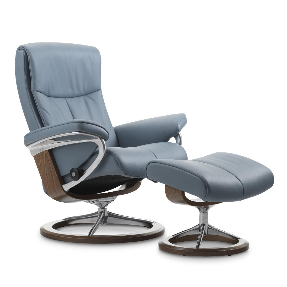 Peach stressless relaxfauteuil lichtblauw