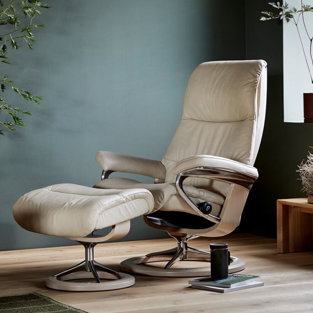 Lichtblauwe stressless relaxfauteuil View